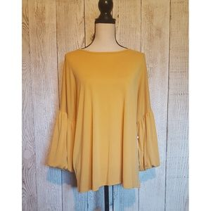 NWT Caslon Nordstrom Ruffled Golden Blouse Size XL
